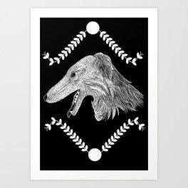 Borzoi head Black and White Art Print