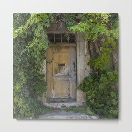 Provence Door covered with green vines Metal Print