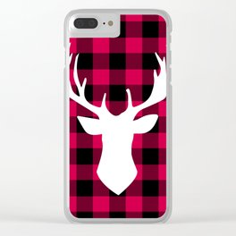 Winter Plaid Deer Clear iPhone Case