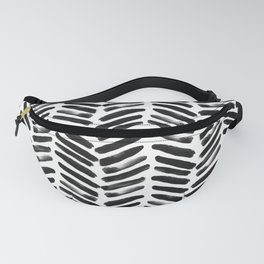 Simple black and white handrawn chevron - horizontal Fanny Pack
