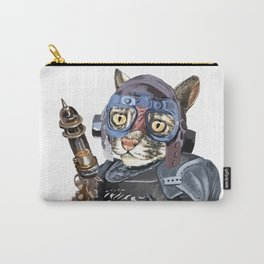 Naughty Pilot Cat with Laser Gun and Heavy Armor Carry-All Pouch