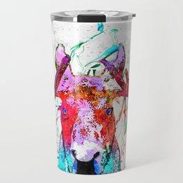 Moose Watercolor Grunge Travel Mug