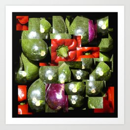 Photocollage - courgettes and peppers Art Print