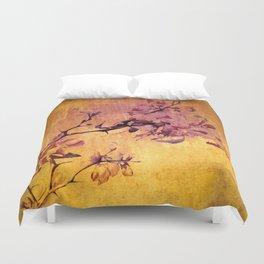 japanese crab apple flowers on golden tones Duvet Cover