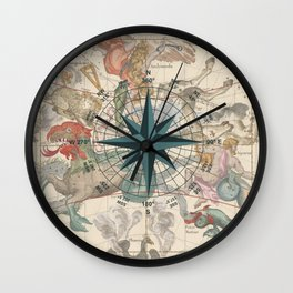 Compass Graphic with an ancient Constellation Map Wall Clock