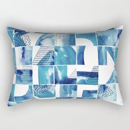 Blue Watercolor Typographical Fragments Cheater Quilt Rectangular Pillow