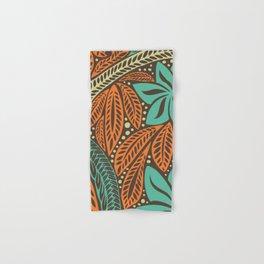 Blue orange retro colored Polynesian Hawaiian floral tattoo design Hand & Bath Towel
