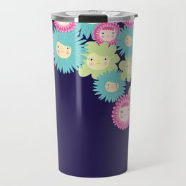Happy Flower Faces Travel Mug
