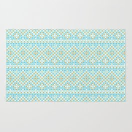 Vintage orange teal stylish cross stitch pattern Rug