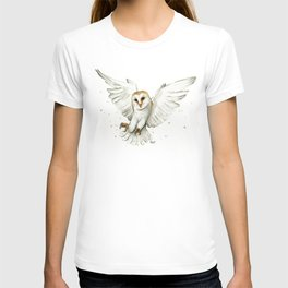 Barn Owl Flying Watercolor | Wildlife Animals T-shirt