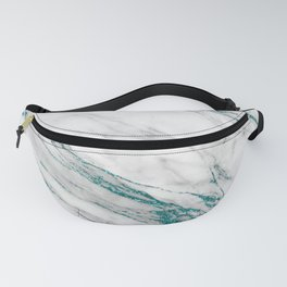 Gray Marble Aqua Teal Metallic Glitter Foil Style Fanny Pack