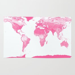 world mAp Pink Rug
