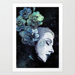 Obey Me: Blue (graffiti flower woman portrait) Art Print