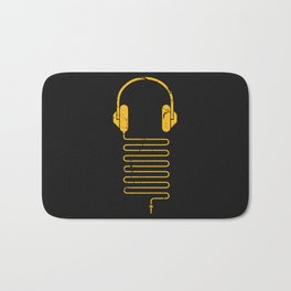 Gold Headphones Bath Mat