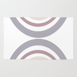 Modern Double Rainbow Hourglass in Muted Earth Tones Rug