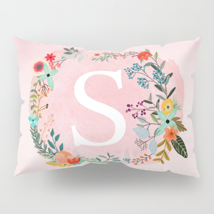 flower wreath with personalized monogram initial letter s on pink