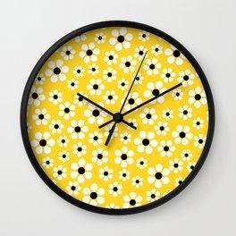 Dizzy Daisies - Yellow Wall Clock
