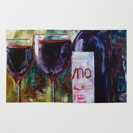 Aged Wine oil painting with palette knife Rug