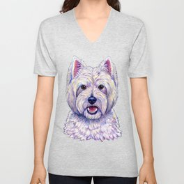 Colorful West Highland White Terrier Dog Unisex V-Neck