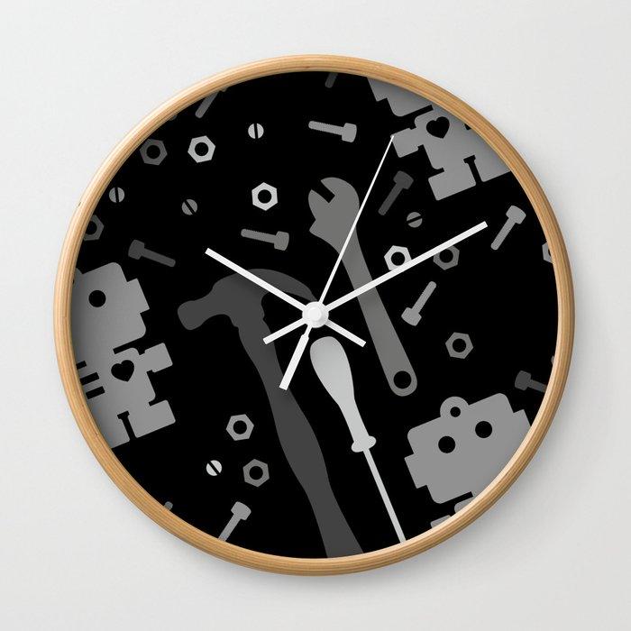 Techie Tools - black and grey Wall Clock