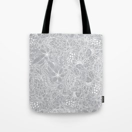 Modern trendy white floral lace hand drawn pattern on harbor mist grey Tote Bag