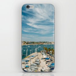 Luxury Yachts And Boats In Cascais Port At Atlantic Ocean, Wall Art Print, Luxury Resort Art, Poster iPhone Skin
