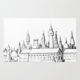 fabulous city . art . black and white Rug