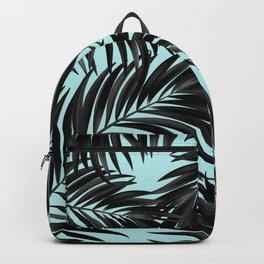 Palm Tree Fronds Black on Cyan Hawaii Tropical Backpack