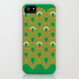 retro sixties inspired fan pattern in green and orange iPhone Case