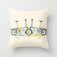 brompton Throw Pillows featuring Brompton Bicycle by Wyatt Design