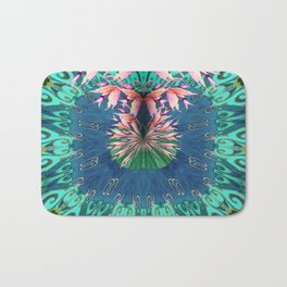 Lush Floral Abstract in Aqua, Moss and Light Coral Bath Mat
