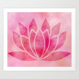 Zen Watercolor Lotus Flower Yoga Symbol Art Print