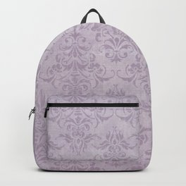 Vintage chic violet lilac floral damask pattern Backpack