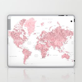 Light pink, muted pink and dusty pink watercolor world map with cities Laptop & iPad Skin