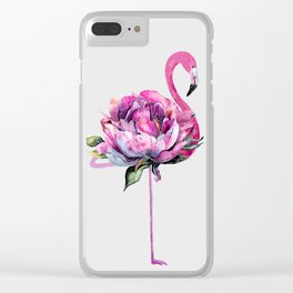 Flower Flamingo Clear iPhone Case