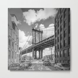 NEW YORK CITY Manhattan Bridge | Monochrome Metal Print