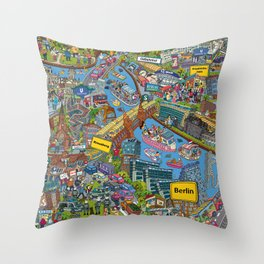 Illustrated map of Berlin Throw Pillow