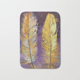 Gold Feathers Bath Mat