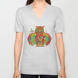 Owl, cool art from the AlphaPod Collection Unisex V-Neck
