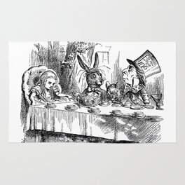 Vintage Alice in Wonderland Mad Hatter & rabbit tea party antique goth emo book gothic drawing print Rug