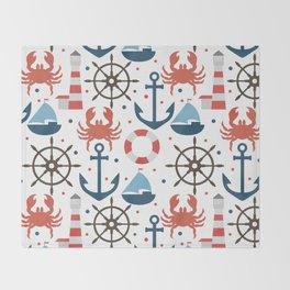 Sea white pattern Throw Blanket