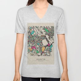 Colorful City Maps: Arlington County, Virginia Unisex V-Neck