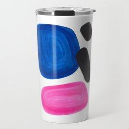 Colorful Minimalist Pop Art Mid Century Modern Style Rose Magenta Phthalo Blue Bubbles Travel Mug