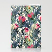 bianca green Stationery Cards featuring Painted Protea Pattern by micklyn