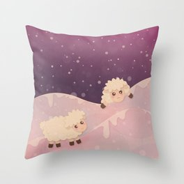 Cartoon Baby Sheep, Red Violet Snowy Bokeh Background Throw Pillow