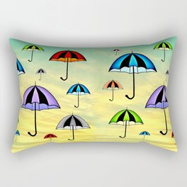 Colorful umbrellas flying in the sky Rectangular Pillow