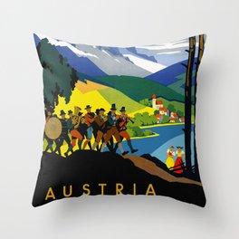 Austria - Vintage Travel Ad Throw Pillow