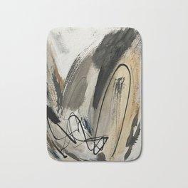 Drift [5]: a neutral abstract mixed media piece in black, white, gray, brown Bath Mat