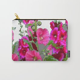 PINK- PURPLE COTTAGE  HOLLYHOCKS WHITE & GREY GARDEN Carry-All Pouch