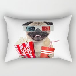 Pug watching a movie Rectangular Pillow